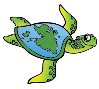 a turtle with the world on it